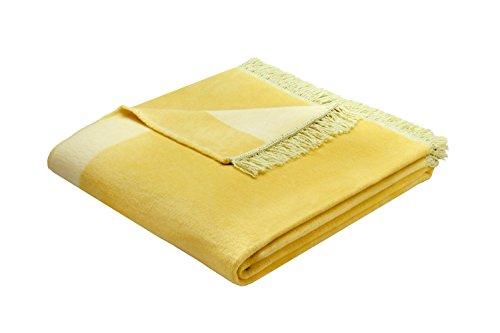 Bocasa Biederlack Orion Decke/Überwurf aus Baumwolle zitronengelb