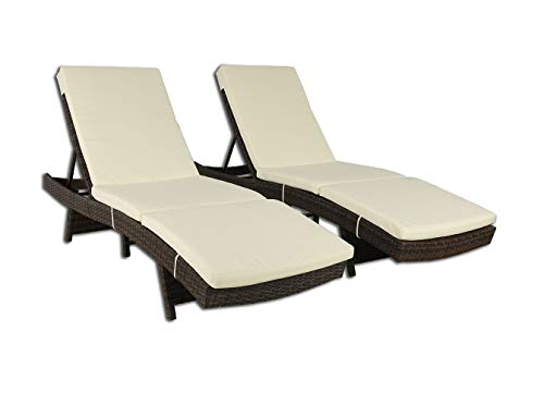 Outime Patio Chaise Lounge Brown PE Rattan Wicker Lounger Chair Adjustable Backrest Cushioned Deck Chair(Beige Cushions,Set of 2)