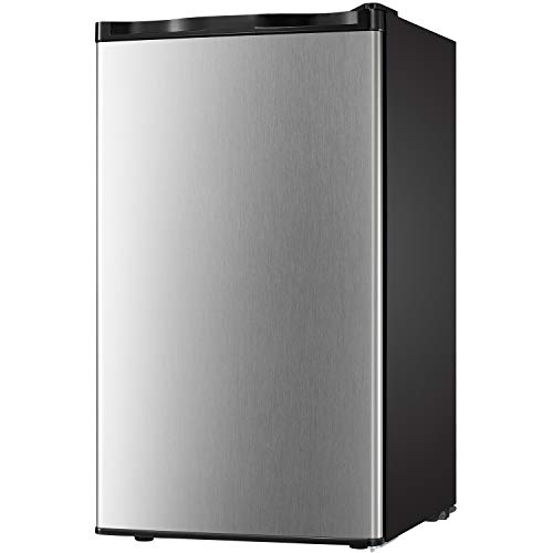 Compact Refrigerator 3.2 cu ft. Unit Small Freezer Cooler Fridge Small Drink Food Storage Machine for Office, Dorm, Apartment, Bedroom(silver stainless steel))