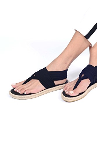 Nalho Women's Yoga Mat Memory Foam Espadrilles Sandals, Ganika Black 6 by Nalho (Image #3)