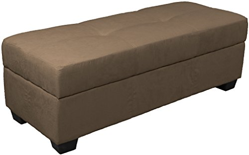 Microfiber Suede (Epic Furnishings Vanderbilt Loveseat Tufted Padded Hinged Storage Ottoman Bench, Microfiber Suede Mocha)