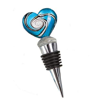 40 Fashioncraft Silver Metal Murano Heart Wine Bottle Stopper Wedding Bridal Shower Favors ()