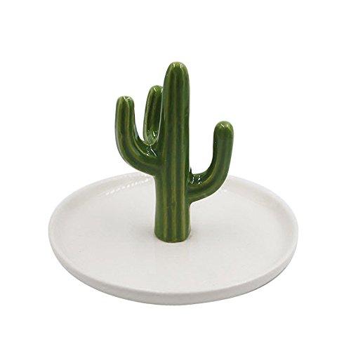 Animal Ring Holder - SOCOSY Cute Ceramic Cactus Ring Holder Jewelry Holder Trinket Tray Ring Dish for Earring Bracelet Keys Necklace Wedding Birthday Gift