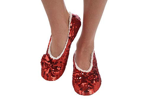 Snoozies Women's Ballerina Metallic Shine Red Sequin Slippers-Large -