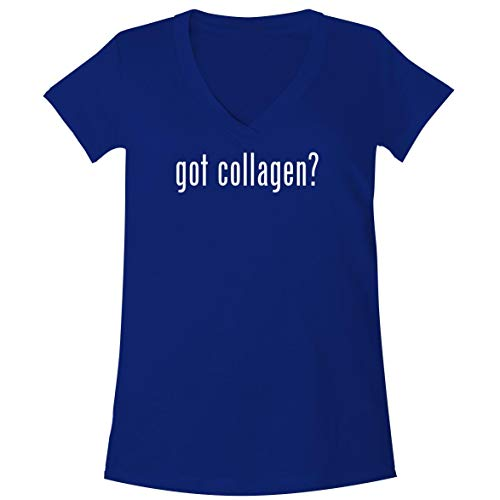 (The Town Butler got Collagen? - A Soft & Comfortable Women's V-Neck T-Shirt, Blue, Large)