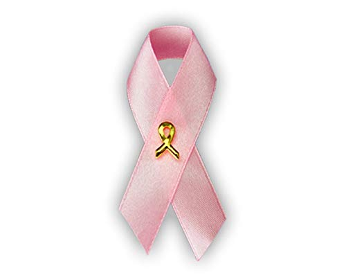 Fundraising For A Cause 100 Pack Pink Satin Ribbon Awareness Pins (100 Pins in a Bag)