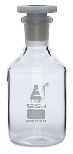 125mL (4.2oz) Glass Reagent Bottle with Acid Proof Polypropylene Stopper, Borosilicate 3.3 Glass - Eisco Labs