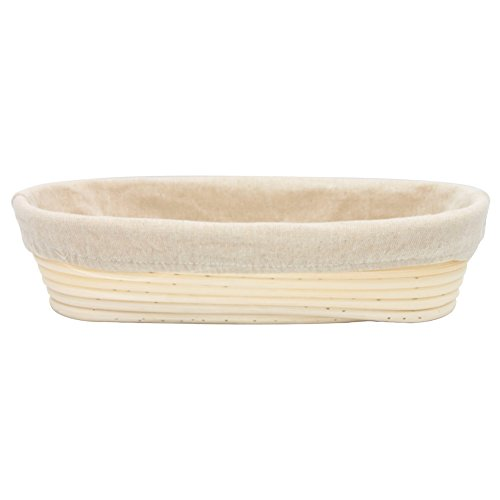 Boseen Oval Shaped Banneton Bread Dough Proofing Rising Rattan Basket & Liner Combo( 12 inches) (Basket Rattan)