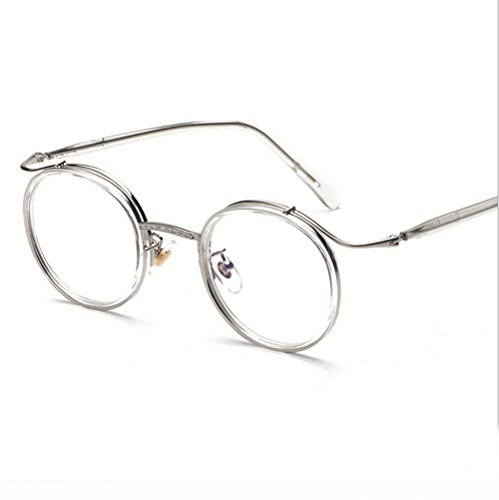 MINCL/ Men Women Designer TR90 Retro Round Metal Frame Light Eyeglasses Frame -yhl (clear-plain, - Eyeglasses High Brands End