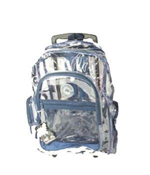 Amazon.com: Blue Clear Rolling Backpack on Wheels 18'': Sports ...