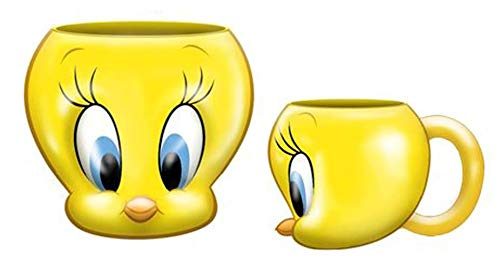 Silver Buffalo Looney Tunes Tweety Face 3D Sculpted Ceramic Mug, 20 Oz, Yellow