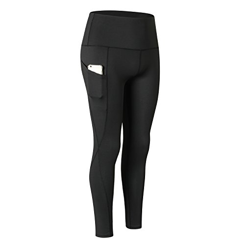 Waisted Athletic Leggings with Pocket Running Sports Gym Workout 4 Way Stretch Yoga Pants (Black-One Side Pocket, S) ()