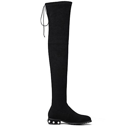 Over Handmade Knee The Seven Classic Toe Black Trendy Heel Women's Boots Leather Nine Round Suede Low CPqwzz4