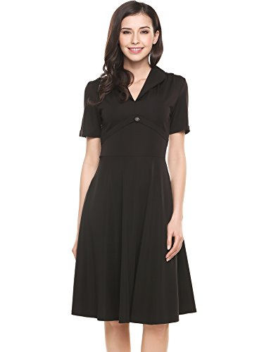 ACEVOG-Women-40s-50s-60s-Vintage-Retro-V-Neck-Casual-Swing-Dress