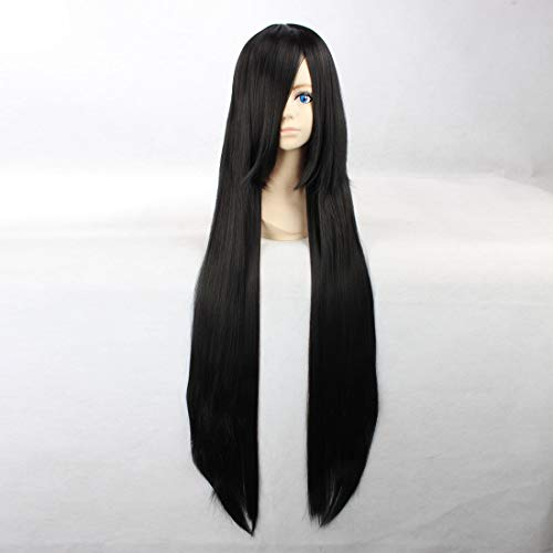 HOOLAZA Black Extra Long Straight Wig Kurotsuchi Nemu Inuyasha Sango Kikyou Akemi Homura Saten Ruiko Himegami Aisa Lucifer Monogatari Series Araragi Karen for the Halloween Party Cosplay -
