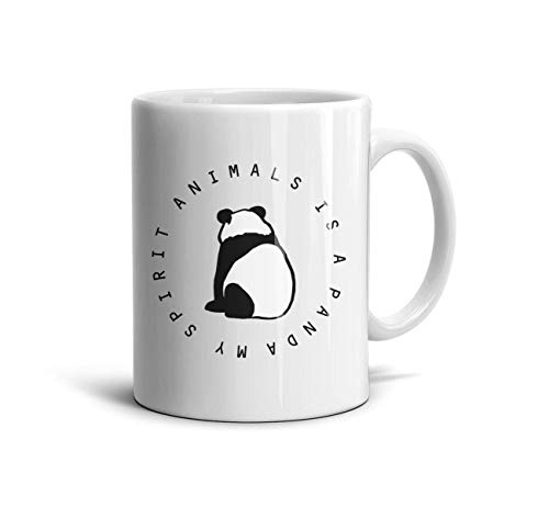 DNSIFH55 White Ceramic Mugs My Spirit Animals is a Panda Novelty 11 oz Coffee Cup Used to Hold Latte Cappuccino Tea Coffee Water Drinks Milk for Girls]()