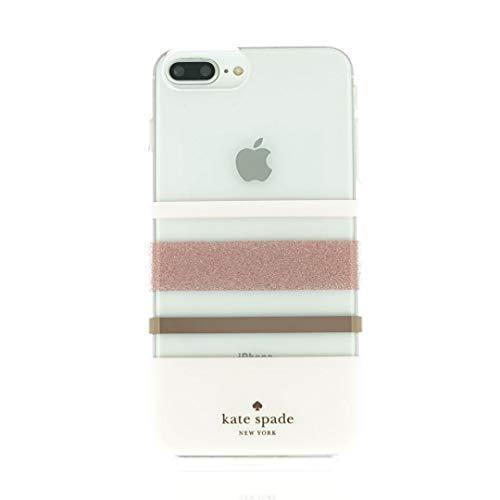 Kate Spade New York Phone Case | for iPhone 8 Plus / 7 Plus / 6s Plus / 6 Plus | Charlotte Stripe Rose Gold Glitter/Blush/Rose Gold/Clear