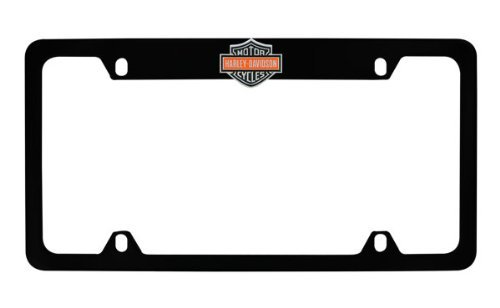 Harley-Davidson Flat Matte Black License Plate Frame Holder Color 3D Bar - Davidson Metal License Harley Plate