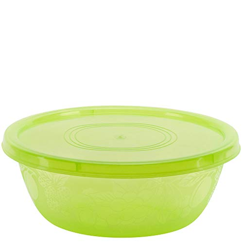DecorRack Serving Bowl with Lid, Extra Large Pasta, Salad, Snack Bowl, Shatterproof, Durable -BPA Free- Plastic Mixing Bowl with Tight Lid, Beautiful, Vibrant Party Decor, Green (1 Pack)
