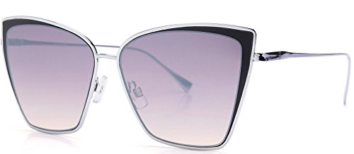 Lens Gradient Frame (Fashion Eyelinks - Modern Metal Boxed Cat Eye Sunglasses (Silver Frame + Gradient Lens))