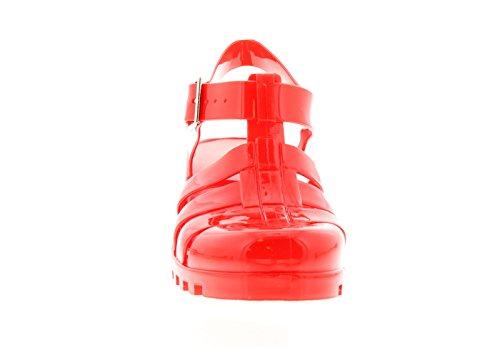 NUEVO mujer rojo Bloque de tacón Cierre De Hebilla Zapatos de GEL -rojo- GB Tallas 3-8