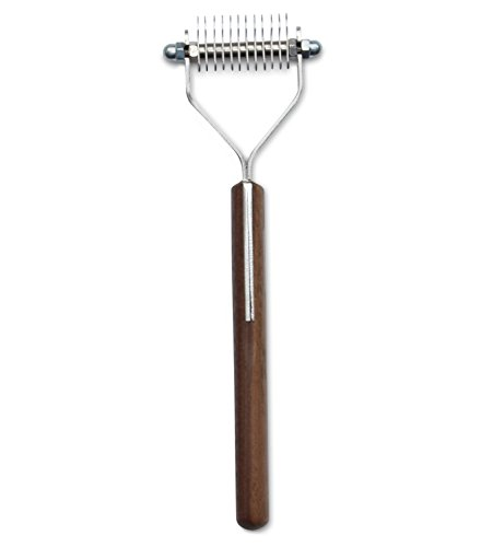 Mars Coat King Blunt Dematting Undercoat Grooming Rake Stripper Tool For Dogs And Cats, Stainless Steel with Wooden Handle, Made In Germany, 12-Blade -  99M-55012