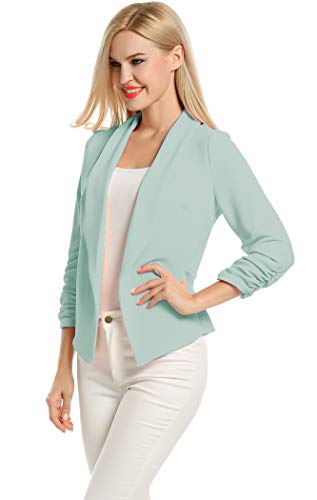 POGTMM Women 3/4 Sleeve Blazer Open Front Cardigan Jacket Work Office Blazer (Mint, US XXL(20-22))]()