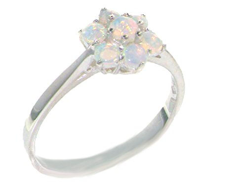 925 Sterling Silver Natural Opal Womens Cluster Ring - Size - Stone Multi Color Cluster Ring