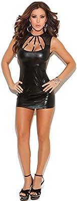 1dad0fbb24 Babydoll De Mujer Sexy Halter Body De Charol Disfras A La Moda Fiesta De  Disfraces De Catwoman Cosplay Entrepierna Abierta Camisón De Peluche con  Tanga ...