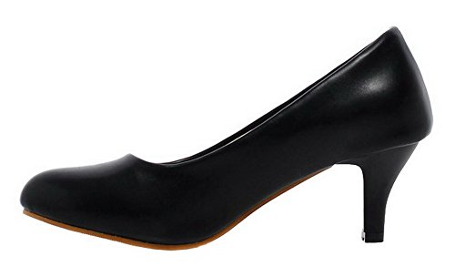 AllhqFashion Womens Kitten-Heels PU Solid Round-Toe Pumps-Shoes Black QVu3GBpw