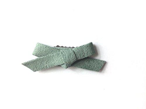 Baby Wisp Infant Faux Suede Hand Tied Hair Bows Wisp Clips Baby Girls Newborn (Lichen Green)