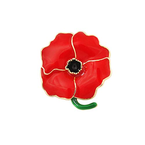 Gzrlyf Poppy Brooch Pin Enamel Flower Pin Solider Remembrance Day Jewerly Veterans Day Gifts(Red)