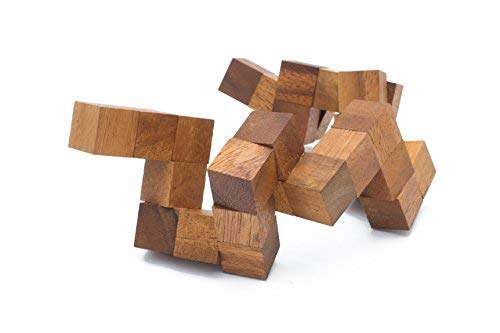 Snake Cube Handmade /& Organic 3D Brain Teaser Wooden Puzzle for Adults from SiamMandalay with SM Gift Box Pictured