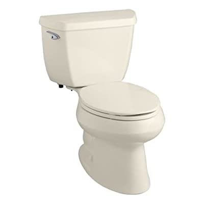 Kohler Wellworth Classic 1.28 gpf Elongated Toilet with Class Five Flushing Technology and Left-Hand Trip Lever with Tank Locks