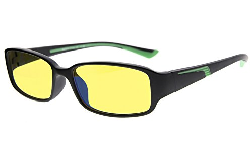Eyekepper 94% Blue Light Blocking Eyewear, Yellow Tinted Lens Computer Glasses (Black/Green Arm +0.00) by Eyekepper