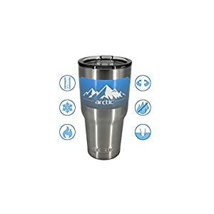 Arctic Tumblers 30 oz Cup - Stainless Steel Camping & Travel Tumbler - Splash Proof Lid - Double Wall Vacuum Insulated -30 oz Coffee Tumbler - Premium Insulated Thermos