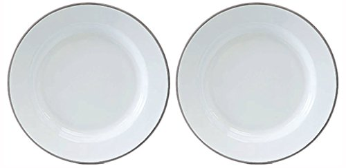 Crow Canyon Set of 2 Enamelware Dinner Plates White with Grey Rim, 10.25 Inches in Diameter By 1 Inch Tall. -