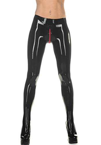 Latex Gummi Rubber Crotch Red Zipped Tiights Trousers Pants 0.4mm