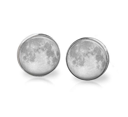 Full Moon Earrings Studs Celestial Body Stainless Steel Jewelry