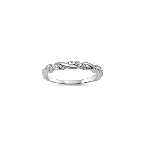 .925 Sterling Silver Braided Bridal Style Pave Cubic Zirconia Stackable Ring - Size 5