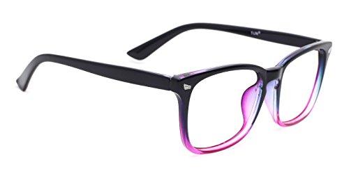 cb00408a4733 TIJN Womens Square Optical Non-Prescription Glasses Frame Clear Lens  Eyeglasses,Purple Gradient Pink