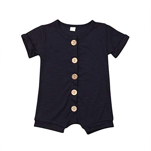 Newborn Kids Baby Boys Cute Solid Color Long Sleeve Hooded Romper Jumpsuit Top Outfits Clothes (18-24 Months, Navy)