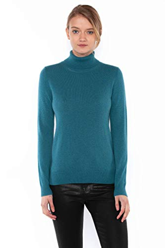 JENNIE LIU Women's 100% Pure Cashmere Long Sleeve Pullover Turtleneck Sweater (M, Teal)