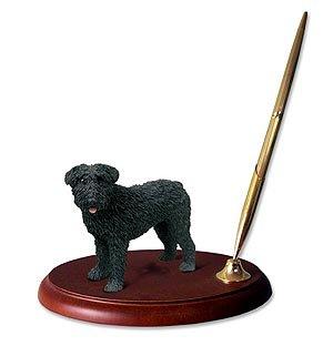 Bouvier Dog Figurine - Bouvier Des Flandres Dog Desk Set - Uncropped Ears