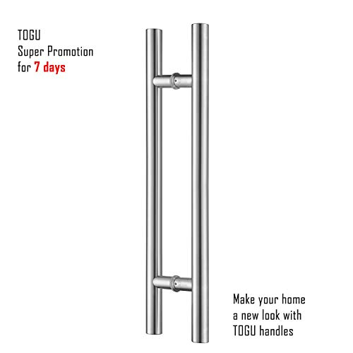 (TOGU TG-6012 48 inches Solid Standoffs Heavy-Duty Commercial Grade-304 Stainless Steel Push Pull Door Handle/Barn Door Pull Handle/Glass Pulls, Full Brushed Stainless Steel Finish)