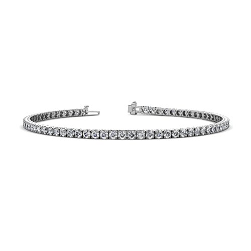 Vs2 Lab - TriJewels Round Lab Grown Diamond (VS2-SI1, F-G) Womens Eternity Tennis Bracelet 3.25 ctw 14K White Gold