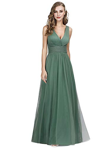 Ever-Pretty Women's Elegant A Line Sleeveless V Neck Floor Length Evening Dresses Green 16US