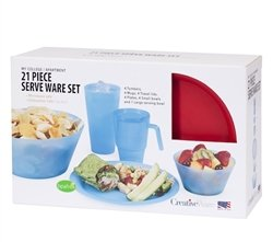21 Piece Complete Dorm Eating Set - Navy Set