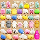 Calans Mochi Squishy Toys, 30 Pcs Mini Squishy Party Favors for kids Animal Squishy Stress Relief Toys Cat Unicorn Squishy Squeeze Toys Kawaii Squishies Easter Egg Fillers Easter Gifts for -