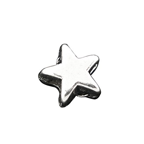 Housweety 200 Silver Tone Star Charm Spacer Beads 6x6mm